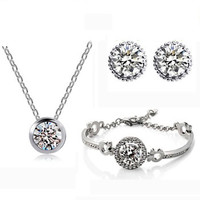 Trio Swarovski Elements Jewelry Set Earrings, Necklace and Bracelet