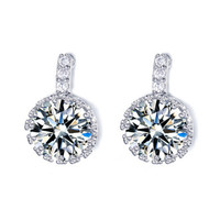 Diamond Silver Halo Drop Earrings