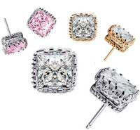 3 pairs of Princess Cut Swarovski Elements Earrings