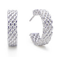 Sterling Silver Wire Mesh Hoop Earrings