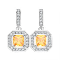 Princess-Cut Dangle Cubic Zirconia Canary Earrings