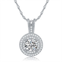 Halo Micro Pave Crystal Necklace