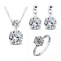 Twinkle Cubic Zirconia Earrings, Necklace, Ring Jewelry Set