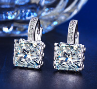 Princess Cut Swarovski ELements Hoop Earrings