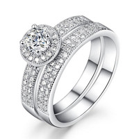 Diamond Simulated Micro Inserted Band Ring