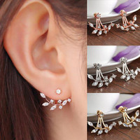 Leaf Crystal Stud Earrings