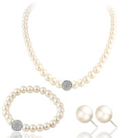 Cultured Freshwater White Pearl Necklace Bracelet & Stud Earring Jewelry Set