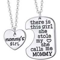 There Is This Girl She Stole My Heart She Calls Me Mommy  Pendant Necklace