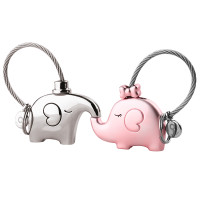 Elephant Love Keychain Set Silver/Pink