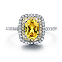 Yellow Canary Cubic Zirconia Oval Cut Wedding Ring