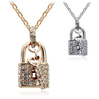 18K Gold Plated Lock and Key Crystal Pendant Necklace