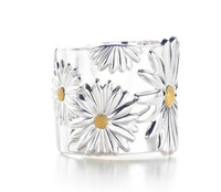 Silver Bangle Flowers Daisy Bracelet Cuff