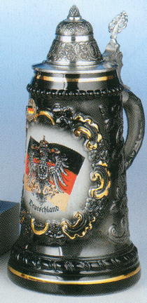 Black Half Liter Stoneware German Beer Mug with Gold Accents and Custom Logo