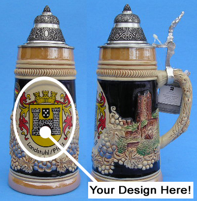 0.5L German Stein with Pewter Lid Showing Area for Custom Image