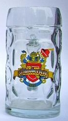 Dimpled glass beer mug with custom engraved color logo crest