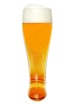 Two liter glass beer boots are impressive, an engraved one is unforgettable