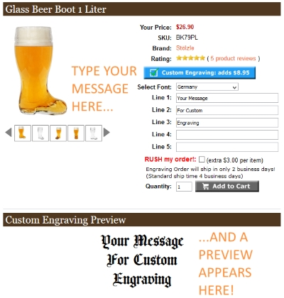 Personalized Message Engraving on Glass Beer Boot