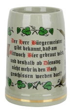 German purity law half liter stone mug