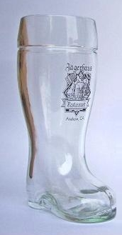 Glass beer boot with custom color logo