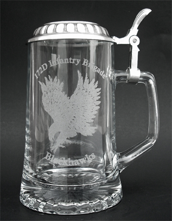 German glass beer stein with lid and custom laser engraving