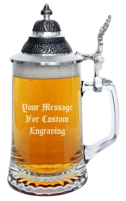 Personalized glass mug with pewter lid