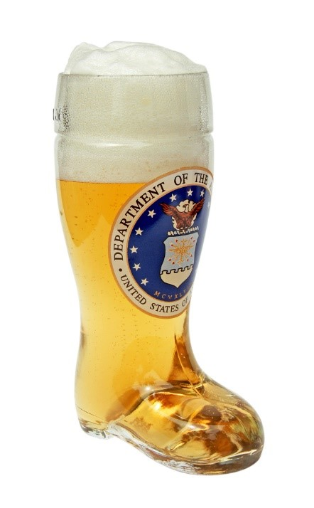 Air Force Insignia Glass Beer Boot
