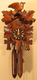 Bird and Leaf Trim Cuckoo Clock with Wooden Weights
