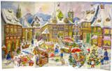 Wooden Large German Christmas Advent Calender Christkindlmarkt 1958