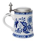 German Flowers Porcelain Beer Stein