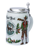 German Hunter Porcelain Beer Stein