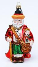 Traditional Santa Glass German Xmas Ornament