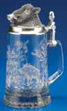 Wild Boar Glass Beer Stein