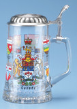 Canada Provinces Glass Beer Stein