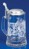 Authentic German Beer Glass with Motorcycle Engravings