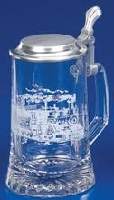 Custom Engraved Railroad Themed German Beer Mug