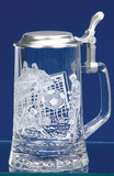 Personalized Glass Beer Mug with Pewter Lid