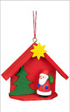 Santa's House Wooden German Ornament
