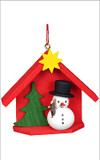 Snowman House Wooden German Ornament