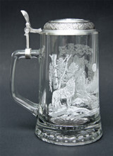 Glass Beer Stein with Handle and Pewter Lid