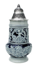 Cobalt Blue Rococo Ceramic German Beer Stein Front View Showing Cherub Angel Relief
