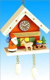 Santas Sleigh Cuckoo Clock Wooden German Ornament