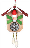Santa Cuckoo Clock Wooden German Ornament