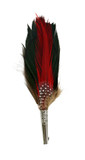Feather Hat Pin Brown, Red & Green