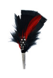 Feather Hat Pin Black and Red