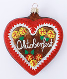 Oktoberfest Gingerbread Heart Glass Ornament