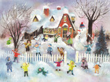 Children Snowball Fight German Advent Calendar