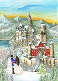 Neuschwanstein in Winter German Advent Calendar