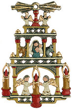 Traditional German Pyramid Pewter Christmas Ornament