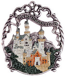 Neuschwanstein Castle German Pewter Christmas Tree Ornament