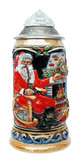 Santa Christmas Beer Stein with Faceted Crystal Lid